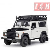 Land Rover Defender with Roof Rack White and Black 1-24 Diecast Model Car by Welly