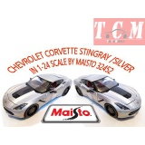 CHEVROLET CORVETTE STINGRAY SILVER IN 1-24 SCALE BY MAISTO