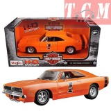 Dodge Charger R/T 1969 Orange Harley Davidson in 1-25 by Maisto