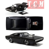 DODGE - DOM'S DODGE CHARGER R-T 1970 - FAST & FURIOUS 7 MATT BLACK IN 1-24 SCALE REPLICA BY JADA