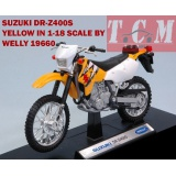 ماکت موتورسیکلت -SUZUKI DR-Z400S YELLOW IN 1-18 SCALE BY WELL