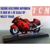 ماکت موتورسیکلت -SUZUKI GSX1300R HAYABUSA IS RED IN 1-18 SCALE BY WELLY
