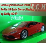 ماکت ماشین لامبورگینی Lamborghini Huracan LP610-4 Red in 1-18 Scale Diecast Replica by Welly