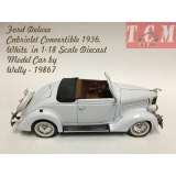 ماکت ماشین فورد -Ford Deluxe Cabriolet Convertible 1936,White, in 1-18 Scale Diecast Model Car by Welly -