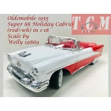 ماکت ماشین الدزموبیل Oldsmobile 1955 Super 88 Holiday Cabrio (red+wh) in 1-18 Scale by Welly