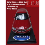 ماکت ماشین بی ام او - BMW X6 2011 2012 Red in 1-18 Scale Diecast Car Model by Welly