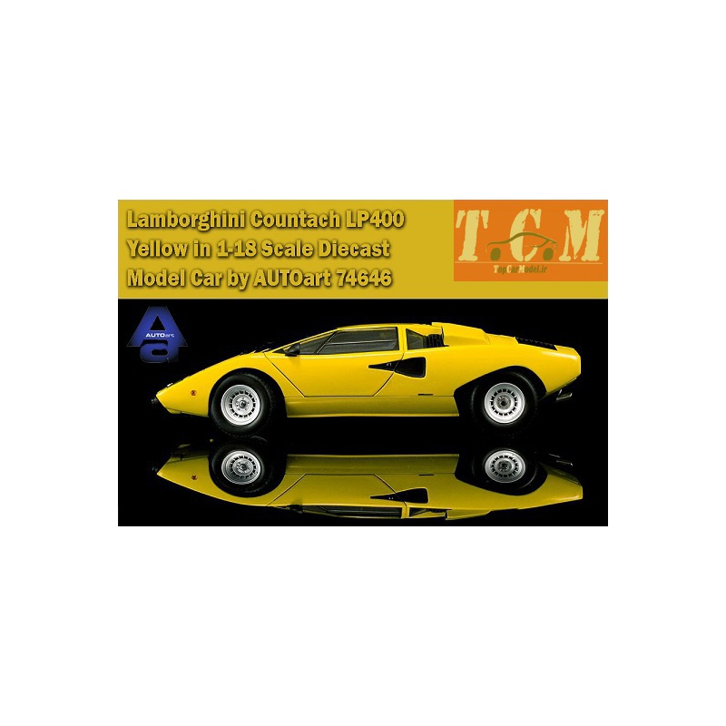 ماکت ماشین لامبورگینی Lamborghini Countach LP400 Yellow in 1-18 Scale Diecast Model Car by AUTOart
