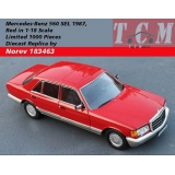 ماکت ماشین مرسدس بنز Mercedes-Benz 560 SEL 1987, Red in 1-18 Scale Limited 1000 Pieces Diecast Replica by Norev